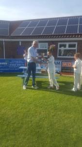 CCC u11 Captain - Alfie Deans - receiving u11 County Cup